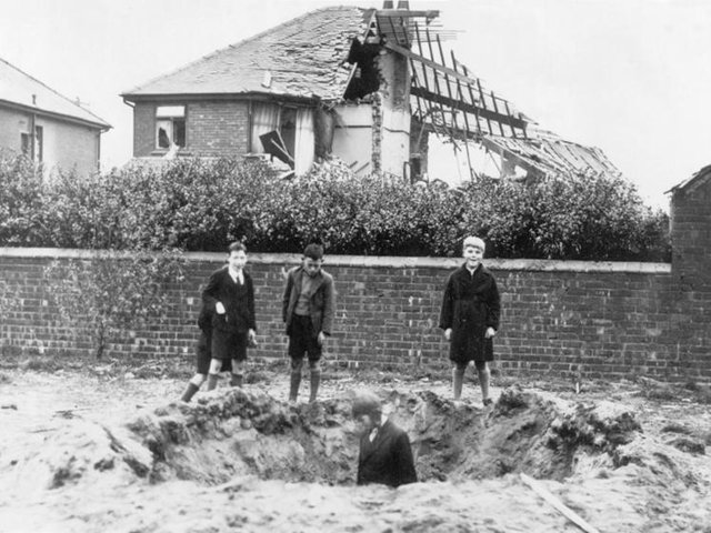 Bomb crater in St Annes in 1940