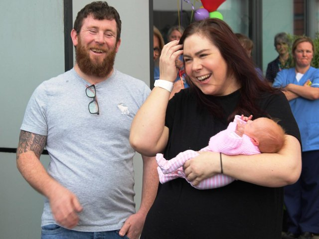 Katherine and Stuart Dawson, both 36, from Garstang, and their newborn daughter Ruby were given a guard of honour by medics at Blackpool Victoria Hospital on Monday, May 4, 2020, after Katherine and Ruby's discharge. Katherine had an emergency C-section and spent eight days on a ventilator are falling seriously ill with the coronavirus Covid-19. Ruby was also diagnosed with the disease but showed no symptoms (Picture: Blackpool Teaching Hospitals NHS Foundation Trust)