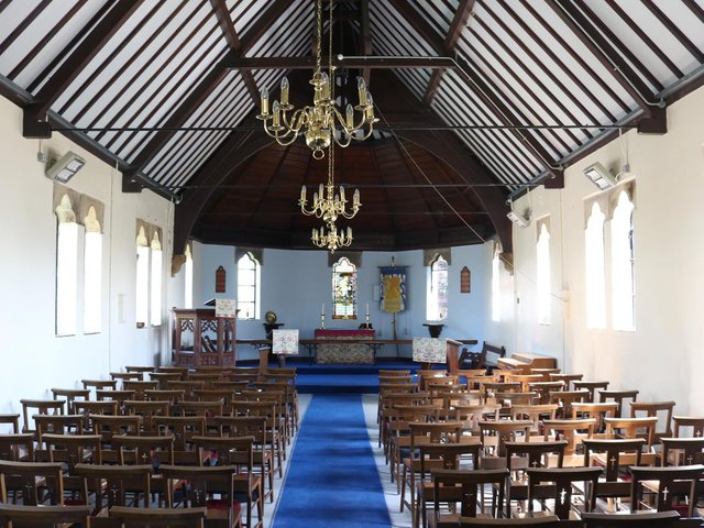 The interior of St Mark's Mission Church, Pilling