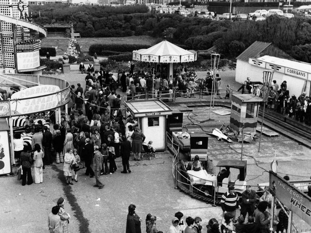 Corrigans, a childrens fairground situated where the leisure centre car park is now. Many will remember its helter skelter and mini Ferris wheel.