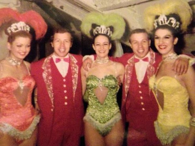 Yvonne Fielding (right in yellow costume) with other Blackpool Tower Circus performers.