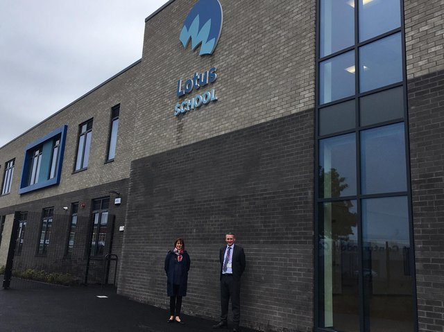Coun Kath Benson, cabinet member for schools, education and aspiration and Philip Thompson, head of service, Special Educational Needs for  Blackpool Council at the new Lotus School