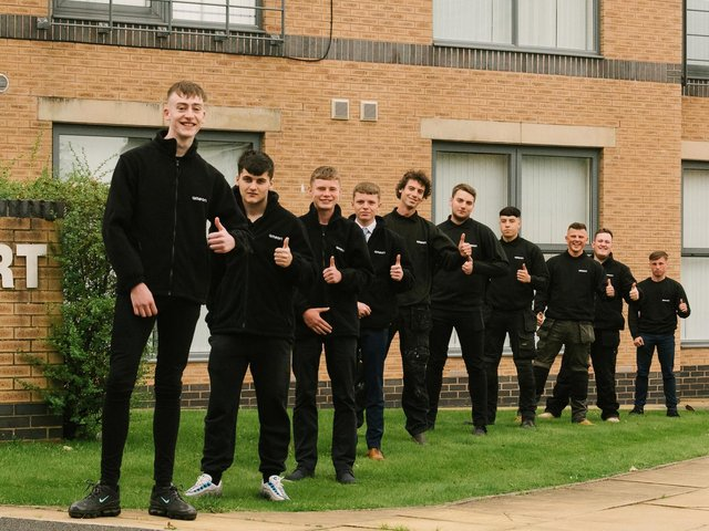 The apprentices given another chance to finish their training after being taken on by Blackpool firm Ameon. Left to right: Hayden Miles, 18, Stanley Park, Blackpool; James Murphy, 16, St Annes; Kieran Wright, 16, Ribbleton, Preston; Christian Roberts, 17, Basford, Stoke-on-Trent; Robert Jackson, 30, Fulwood, Preston; Luke Baillie, 20, Thornton Cleveleys; Thomas Ousby, 19, Freckleton, Preston; Harvey Cygal, 20, Fleetwood; Ryan O'Toole, 24, and Jamie Fradgley, 19, of Thornton and Cleveleys.