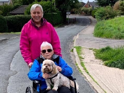 Pip Flegel and training partner Jann Brant-Cassidy took part in a 10k wheelchair run.