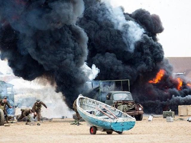 An explosion scene is filmed on St Annes Beach