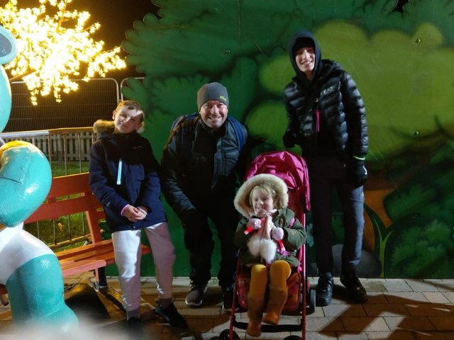 Simon Moore with children Harvey, 13, Rome, eight, and three-year-old Ada walked the Lights for Rosemere Cancer Foundation