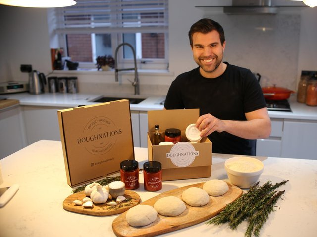 Alex Walker with his Doughnations homoe delivery vegan pizza kit business
