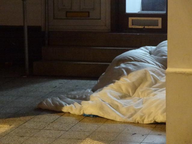People sleeping in a shop doorway in Blackpool