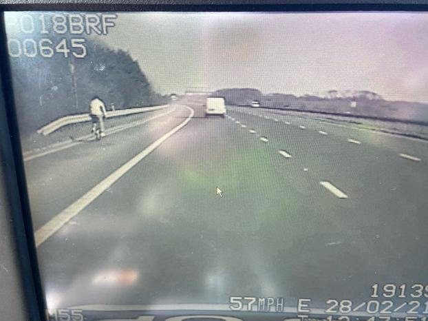 The cyclist was caught on the M55. (Credit: Lancashire Police)