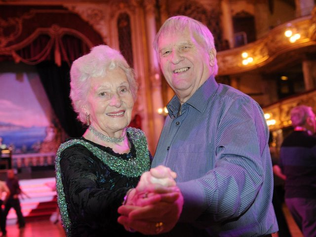 Joan Taylor and Colin Shriver on her 95th birthday at the Blackpool Tower Ballroom