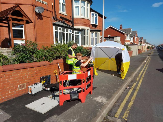 ITS engineers installing the fibre internet