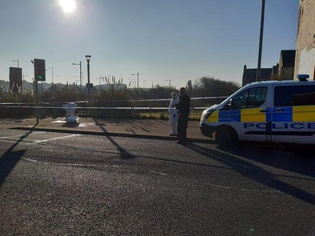 CSI at the scene of the stabbing in Bloomfield Road.
