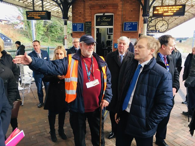 Secretary of State for Transport Grant Shapps visiting Poulton to hear about the plan to re-instate the rail line from Fleetwood to Poulton