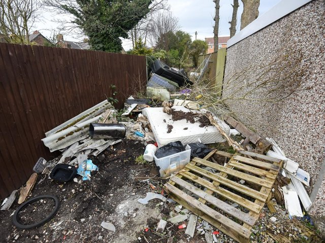 Fly tipping in Thornton.