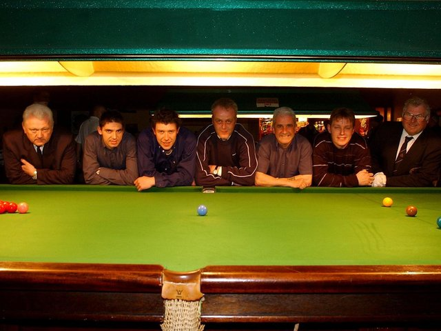 Some of the members from the Riley Red Snooker team who have won the league title. From left, referee Tony Graham, Steve Rowlings, Leigh Robinson, Duncan Webb (captain), Steve Almond (vice captain), Lee Cromie and referee John Bell