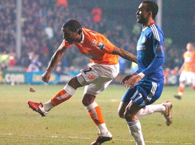 Jason Puncheon scores Blackpool's goal against Chelsea