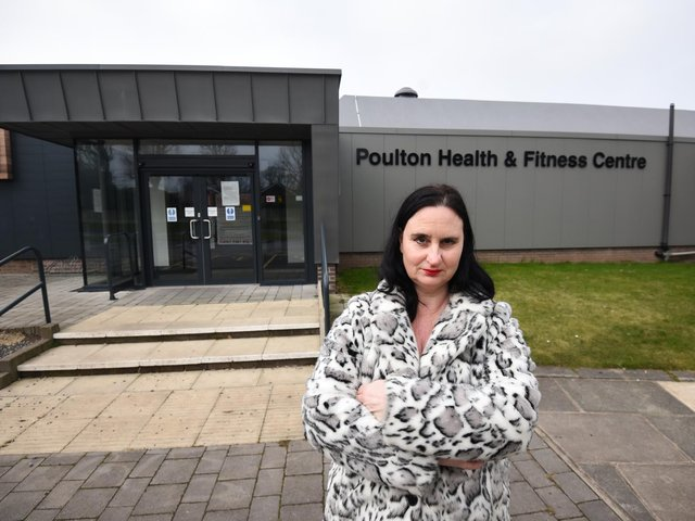 Coun Holly Swales outside Poulton's YMCA Leisure Centre