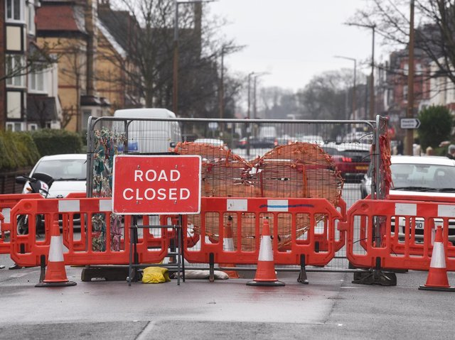 The road has been closed, with diversions set up