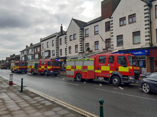 Fire crews were called out to tackle a fire at a vape shop in Cleveleys today (Tuesday, March 9)