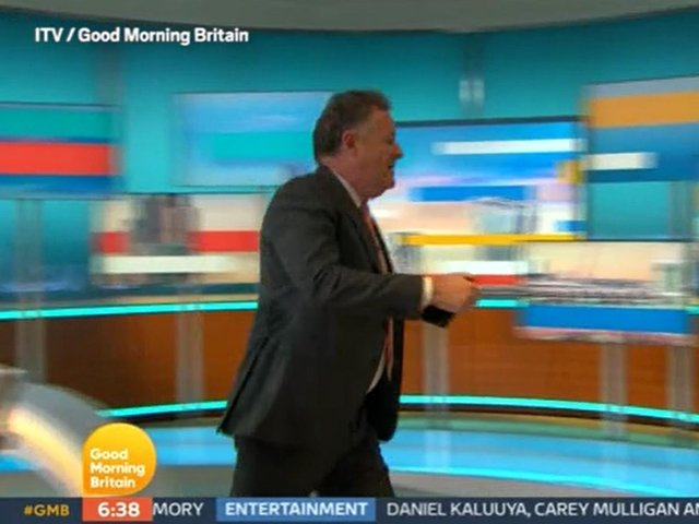 Video grab taken from ITV of presenter Piers Morgan walking off set during a Good Morning Britain discussion about the Duchess of Sussex with his colleague, Alex Beresford, the morning after the UK broadcast of the Duke and Duchess of Sussex interview with Oprah Winfrey. Picture credit: ITV