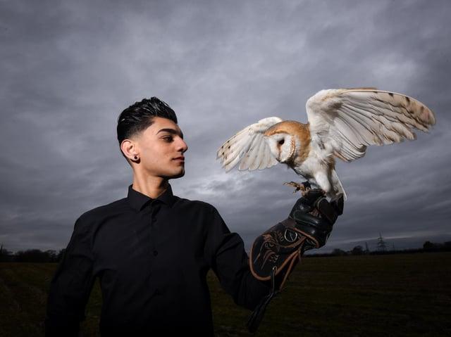 Bailey Lister, co-founder of Hugo's Small Animal Rescue and Sanctuary, with Twilight the barn owl. Photo: Daniel Martino/JPI Media
