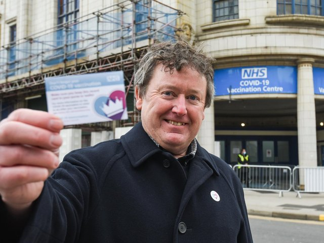 Professor Peter Hughes after his first Covid jab at Blackpool's Winter Gardens