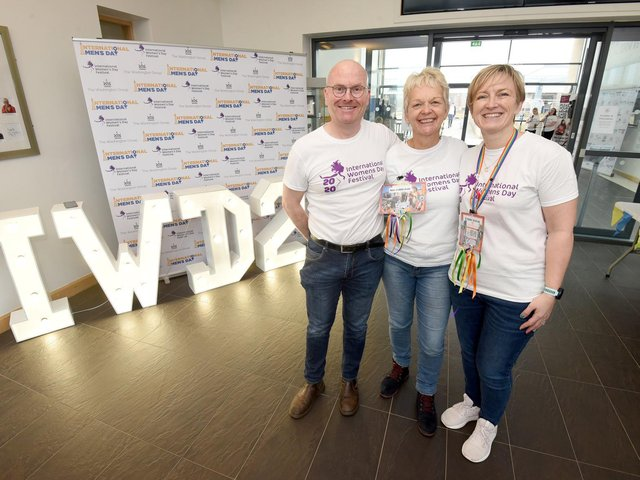 Sue Littlefair and Deborah Terras from The Washington Group pictured with Pete Crossley, at a previous Fylde Coast International Women's Day Festival at Blackpool 6th Form