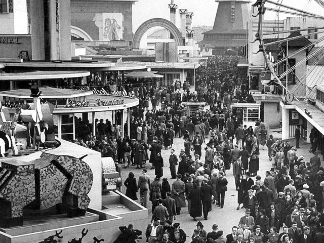 Bank Holiday crowds in 1939 headed for Blackpool Pleasure Beach where the popular attractions were Noah's Ark and the Grand National
