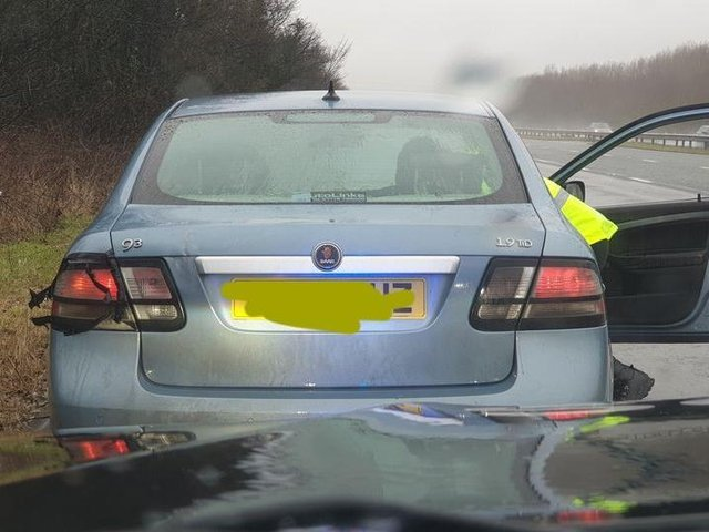 The drug driver was pulled over the on M6 near Preston on Sunday afternoon (March 14)