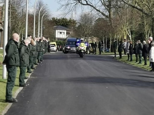In a touching tribute to Lesley, her ambulance service colleagues provided a guard of honour as the procession arrived at Carleton Crematorium on Monday, March 15