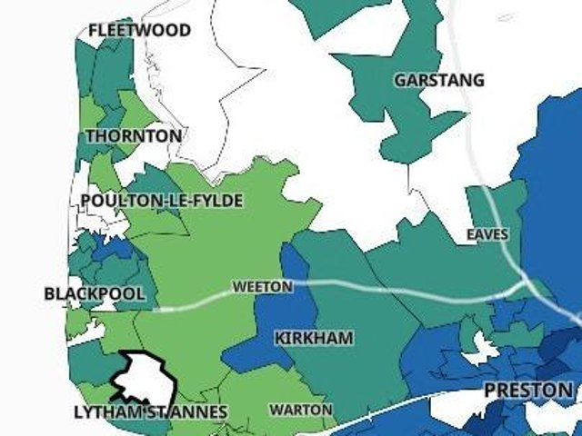 The areas of Blackpool, Fylde and Wyre with fewer than three cases of Covid.