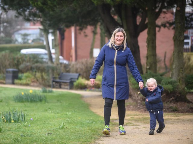 """Jane Schofield and her son Jude have been taking part in CAFOD's """"Walk for Water"""" campaign with members of their parish at St John's Catholic Church in Poulton. Photo: Daniel Martino/JPI Media"""