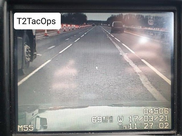 """Police said the driver """"failed to see the 50mph speed limit on their journey"""". (Credit: Lancashire Police)"""