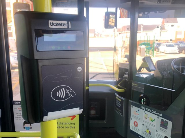 One of the new 'Tap&Go' machines on a Blackpool bus