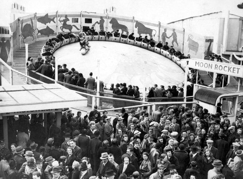 The popular Moon Rocket ride in 1940 at Blackpool Pleasure Beach