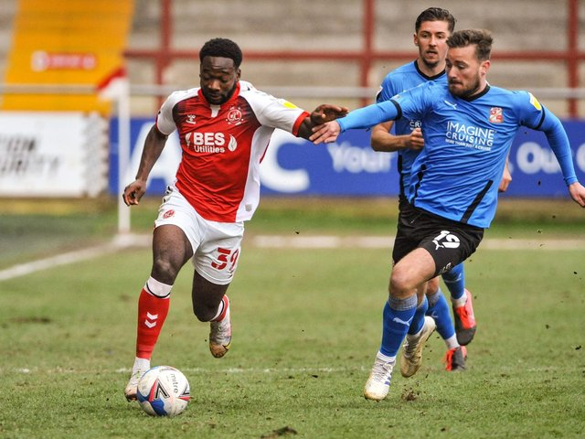 Fleetwood Town's Shayden Morris runs at the Swindon Town defence Picture: Stephen Buckley/PRiME Media Images Limited