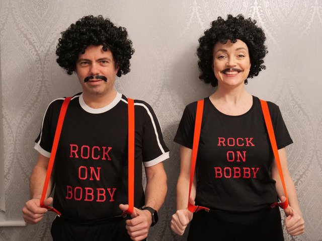 Sean Lester and Jane Dean will be collecting for the Bobby Ball statue fund around Lytham Green on Saturday