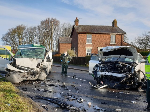 The scene of the crash near the Shell garage and Starbucks in Fleetwood Road (A585), Esprick this morning (Wednesday, March 24)