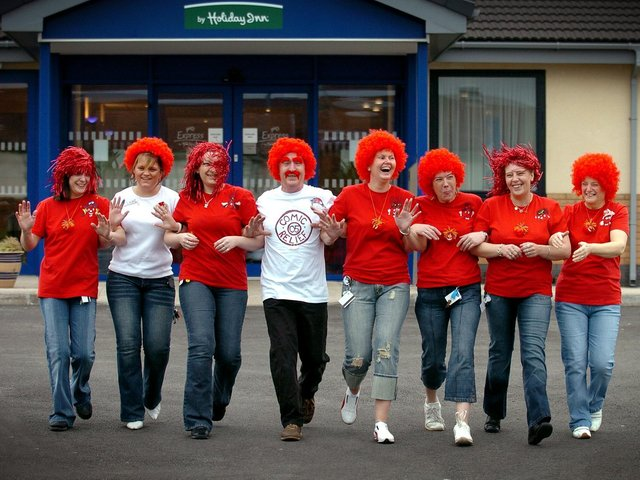 Staff from Express by Holiday Inn Preston South, from left, Donna Wilkins, Claire Dixon, Donna Dixon, Dennis Porter, Sandie Hogg, Julie Fawcett, Lorraine Townley and Marlene Wilday during their Red Nose event at the hotel in Bamber Bridge