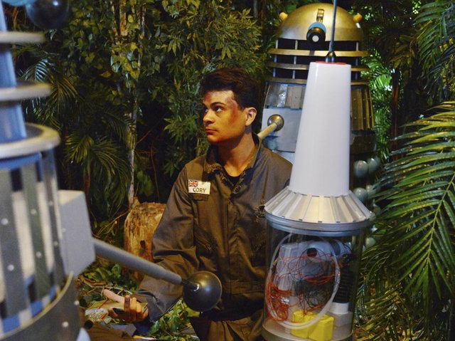 Marco Simioni plays Marc Cory as he is surrounded by the dreaded Daleks.