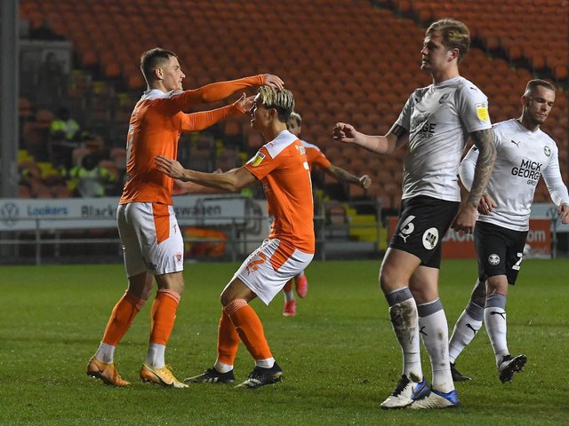 Jerry Yates scored two goals for Blackpool in midweek