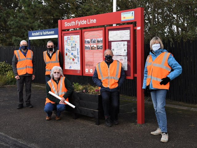 Fylde community rail volunteers unveil the history posters at Ansdell and Fairhaven railway station