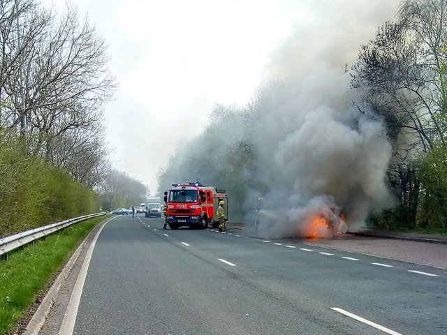 The car burst into flames in Preston New Road, Freckleton this afternoon (March 31). Pic credit: Gary Thomas