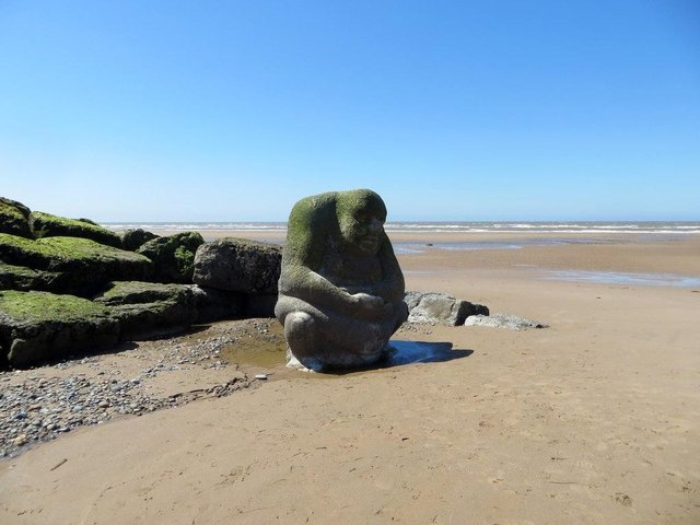 The stone Ogre on Cleveleys beach is part of the story of the Sea Swallow and Mythic Coastline.