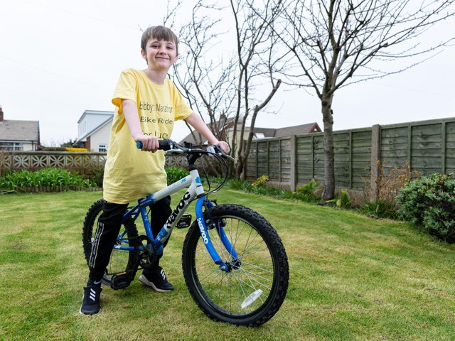 Bobby Casson who is going to cycle 26.2 miles to help raise funds for a play area at larkholme Primary School in memory of his friend, Lucy, who died aged eight last year