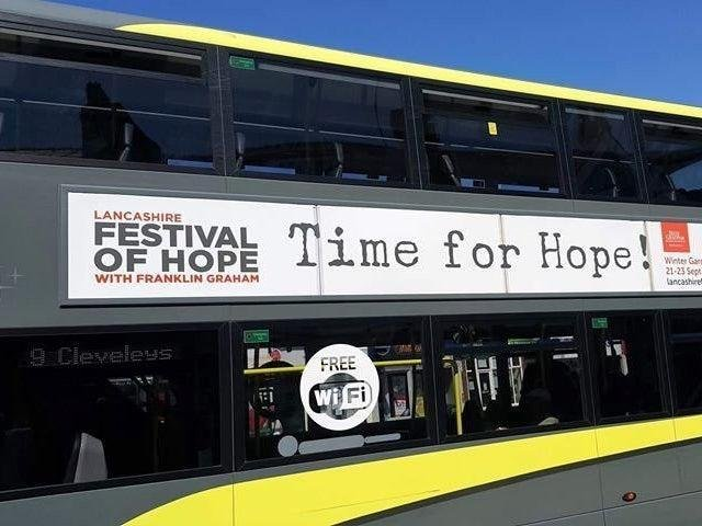 Blackpool Council and Blackpool Transport breached the human rights of the Lancashire Festival of Hope by taking down these adverts, a judge ruled