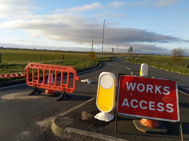 The entrance to what will be the M55 link road at Cypress Point, Ansdell
