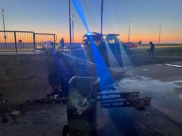 Vandals reportedly set fire to a bin and pallets at the skatepark in Jubilee Gardens. (Credit: Lancashire Police)