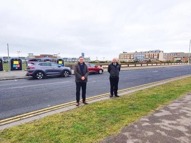 Coun Walsh (left) and Coun Cox at the site of the proposed pedestrian refuge on Clifton Drive