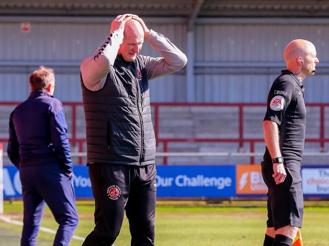 Simon Grayson saw his Fleetwood  Town players beaten on Friday Picture: Sam Fielding/PRiME Media Images Limited